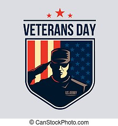 Illustration of Shield with Soldier saluting against USA Flag. Veterans Day