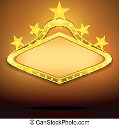 shining signboard with the retro star on a gold.