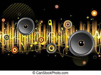 illustration of shiny abstract party design with urban music scene - Speakers and sound waves
