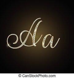 """Shiny alphabet """"A"""" of gold and diam"""