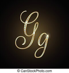 "Shiny alphabet ""G"" of gold and diam"