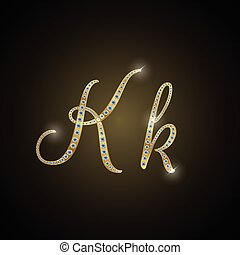 "Shiny alphabet ""K"" of gold"