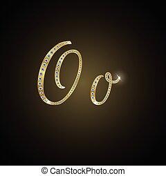 """Shiny alphabet """"O"""" of gold and diam"""