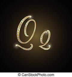 """Shiny alphabet """"Q"""" of gold and diam"""