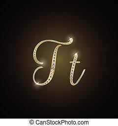 "Shiny alphabet ""T"" of gold and diam"
