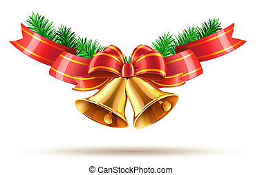 illustration of shiny golden Christmas bells decorated with red bow and ribbons