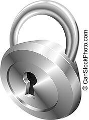 Illustration of shiny metal steel padlock icon