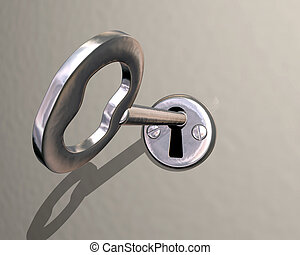 Illustration of shiny silver key being turned in lock
