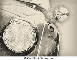 Illustration of shiny vintage car, detail view of the headlight