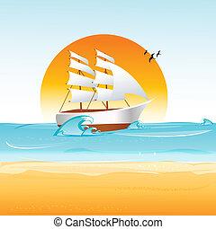 ship on sea - illustration of ship on sea with sun and bird