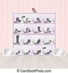 shoes in the showcase - illustration of shoes in the...