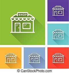 shop icons with long shadow