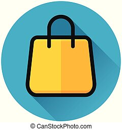 shopping bag circle blue icon