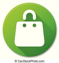 shopping bag green circle icon
