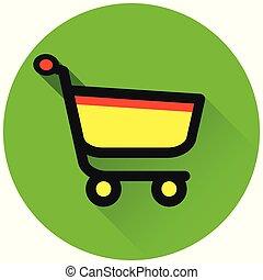 shopping circle green flat icon
