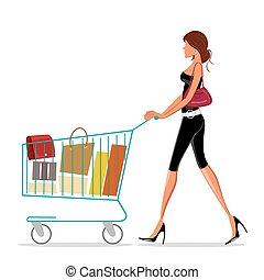 illustration of shopping lady with trolley on white background