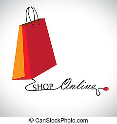 "Illustration of shopping online using a technology. The graphic contains a shopping bag symbol linked to a mouse with the wire forming words ""shop"" & ""online"""