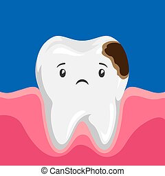 Illustration of sick tooth with caries. Children dentistry...
