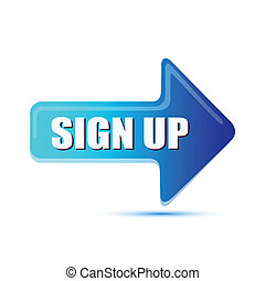 illustration of sign up arrow on isolated background