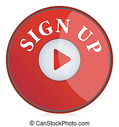 illustration of sign up button on isolated background