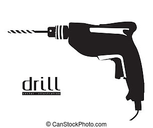 silhouette of a drill - Illustration of silhouette of a...