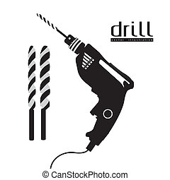 silhouette of a drill