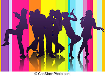 karaoke party - illustration of silhouette of a group...
