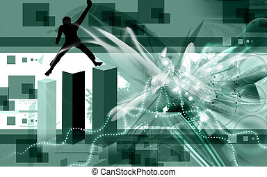 man climbing three graphical blocks
