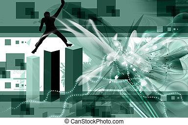 man climbing three graphical blocks