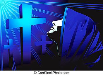 praying - Illustration of silhouette of a nun praying in...