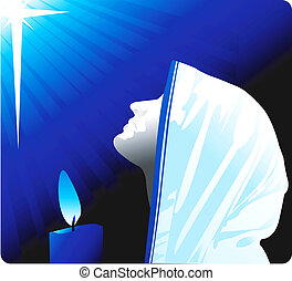 praying - Illustration of silhouette of a nun praying in...