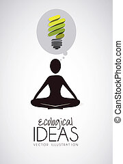 Illustration of silhouette of a person in the lotus position thinking, ecological illustrations, vector illustration