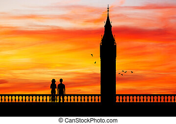 silhouette of big ben at sunset