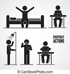 everyday activities - Illustration of silhouettes of humans ...
