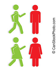 Illustration of silhouettes of man and woman in red and green, signaling, vector illustration