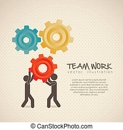 team work - Illustration of silhouettes with gears, team ...