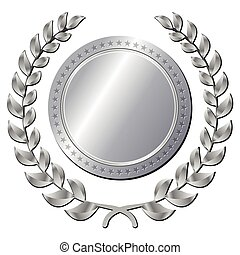 silver medal on white background