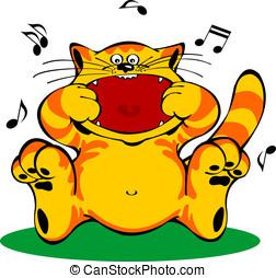 Illustration of singing red cat