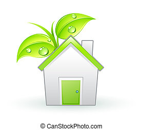 eco icon - illustration of Single eco icon - Green house and...