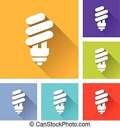 six light bulb icons