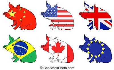 Pork producing countries - Illustration of six pig with flag...