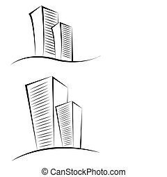 sketchy buildings - illustration of sketchy buildings on...