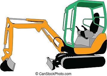 illustration of skid loader - vector