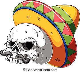 Skull head cartoon with sombrero