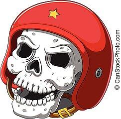 Skull in red helmet on white background