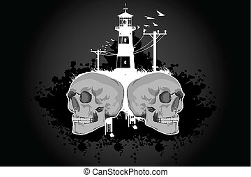 skull with building