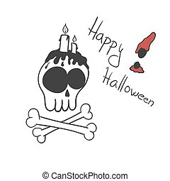 Illustration of skull with candles on the top. Halloween card template on the white background.
