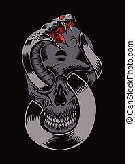 Illustration of skull with cobra.