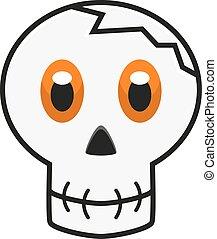 Illustration of skull with orange eyes