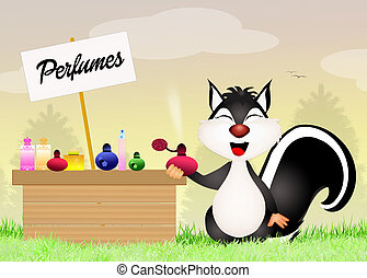 skunk sells perfumes - illustration of skunk sells perfumes